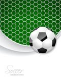 Soccer brochure design with ball and net Royalty Free Stock Images