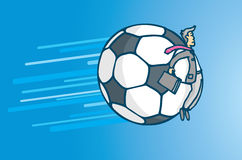 Soccer business or businessman hit by giant ball Royalty Free Stock Photos
