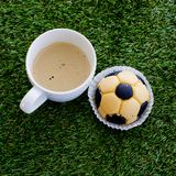 Soccer cake and coffee Stock Photography