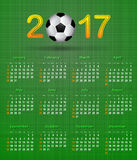 Soccer calendar for 2017 on green linen texture Stock Image
