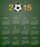 Soccer calendar for 2015 on green linen texture Stock Photography