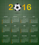 Soccer calendar for 2016 on green linen texture. Vector illustration Stock Photography