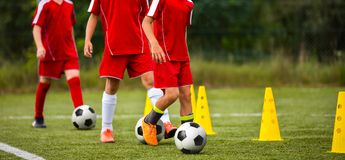 Soccer camp for kids. Children training soccer skills with balls and cones. Soccer slalom drills to improve football dribbling fast Stock Image