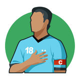 Soccer Captain. With hand on heart Royalty Free Stock Photography