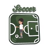 Soccer cartoon theme Royalty Free Stock Images