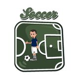 Soccer cartoon theme Royalty Free Stock Photography