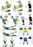Soccer cartoons. Cartoon soccer players, female and male Royalty Free Stock Images
