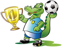 Soccer champion. Show his golden cup Royalty Free Stock Photo
