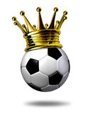 Soccer Champion. Symbol represented by a golden crown on a black and white soccer ball or as called in Europe a football representing the winning of a Stock Photography