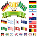 Soccer Championship. Soccer World Championship 2014 Collect with Flags, Gold Cup, Ribbon and Flags, isolated vector. Part 1 of 4 vector illustration