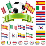 Soccer Championship. Soccer World Championship 2014 Brazil Collect with Flags, Ball, Ribbon and Flags, isolated vector. Part 2 of 4 Royalty Free Stock Photography