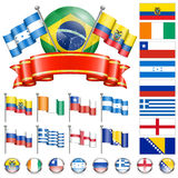 Soccer Championship. Soccer World Championship 2014 Brazil Collect with Flags, Ball, Ribbon and Flags, isolated vector. Part 3 of 4 Royalty Free Stock Images