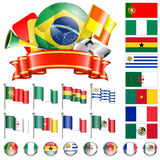 Soccer Championship. Soccer World Championship 2014 Brazil Collect with Flags, Ball, Ribbon and Flags, isolated vector. Part 4 of 4 Royalty Free Stock Images