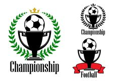 Soccer championship badges with ball and cup Stock Images