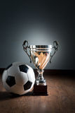 Soccer championship cup Stock Photo