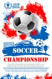Vector poster for soccer football championship. Soccer championship 2018 cup poster of football ball, goal gates at arena stadium and winner golden goblet award Royalty Free Stock Photos