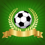 Soccer championship design with football. Soccer champion concept with shiny gold laurel ribbon banner and soccer ball on glowing green background Royalty Free Stock Image