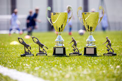 Soccer championship gold trophies. On shinny green grass. Sport football background Stock Image