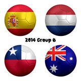 2014 Soccer Championship Group B Nations. 3D rendering of national flag on ball for Soccer Championship 2014, Brazil. Group B. Spain, Netherlands, Chile Stock Images