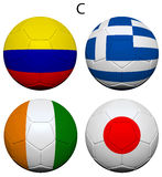 Soccer Championship 2014 Group C Flags Royalty Free Stock Images