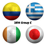 2014 Soccer Championship Group C Nations. 3D rendering of national flag on ball for Soccer Championship 2014, Brazil. Group C. Colombia, Greece, Cote d'Ivoire Stock Image
