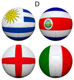 Soccer Championship 2014 Group D Flags Stock Images
