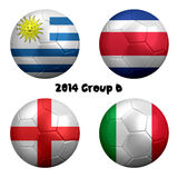 2014 Soccer Championship Group D Nations. 3D rendering of national flag on ball for Soccer Championship 2014, Brazil. Group D. Uruguay, Costa Rica, England Stock Photo