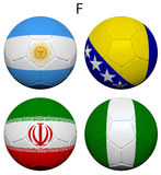 Soccer Championship 2014 Group F Flags Stock Image