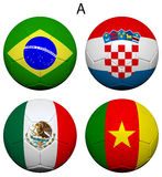 Soccer Championship 2014 Group A Flags Stock Photos