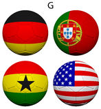 Soccer Championship 2014 Group G Flags Stock Photography