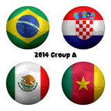 2014 Soccer Championship Group A Nations. 3D rendering of national flag on ball for Soccer Championship 2014, Brazil. Group A. Brazil, Croatia, Mexico, Cameroon Stock Image