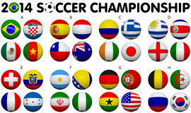Soccer Championship 2014 Groups Flags Stock Images