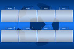 Soccer championship groups scheme. Football tournament group bracket at blue background with ball. Vector Royalty Free Stock Photography