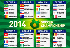 Soccer championship 2014 illustration. With groups Royalty Free Stock Photography