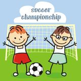 Soccer championship, kids team Royalty Free Stock Photo