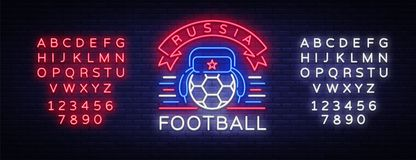 Soccer championship logo neon vector. Soccer neon sign, European Football Cup 2018, Light Banner, Design Template whit. Russian Earflaps, Soccer Russia, neon Royalty Free Stock Photo