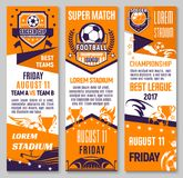 Soccer championship match banner of football sport Stock Images