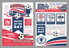 Vector soccer football match posters. Soccer championship match or football cup game posters design templates. Vector soccer ball on wings for goal and team Royalty Free Illustration