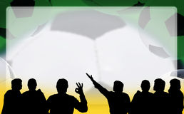Soccer championship - people silhouettes looking at banner Royalty Free Stock Images