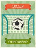 Soccer Championship. Retro poster in flat design Stock Photography