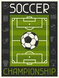 Soccer Championship. Retro poster in flat design Royalty Free Stock Photos