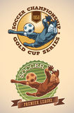Soccer champs labels Stock Photography
