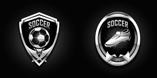 Soccer chrome emblems vector illustration