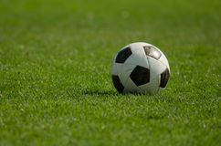 Soccer classic ball on the green grass Stock Photography