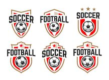 Soccer Classic Vector Emblems Set royalty free stock images