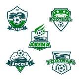 Vector football club icons of soccer balls. Soccer club or football college league team icons templates. Vector heraldic badge shields of soccer ball, football Royalty Free Stock Image