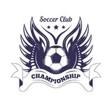 Soccer club or football league championship cup logo template. Stock Image