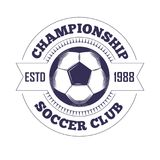 Soccer club or football league championship cup logo template. Stock Photo