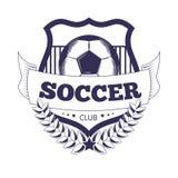 Soccer club or football league vector ball, star wings ribbon vector icon emblem Royalty Free Stock Photos