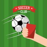 Soccer club hand holding red card and ball goal Stock Photography